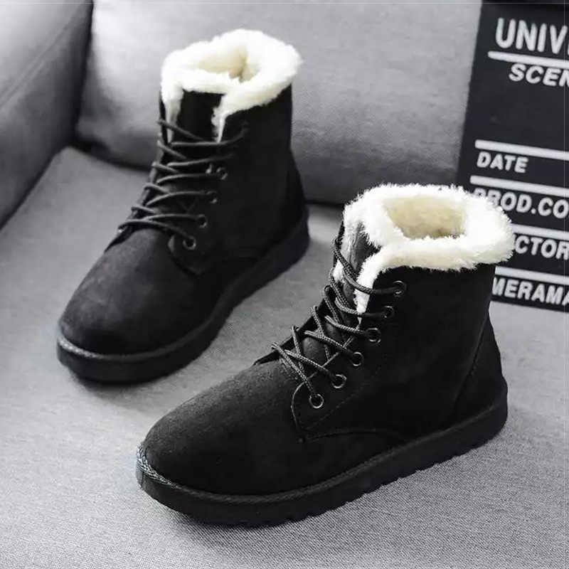 Untuk Wanita Hangat Plush Sepatu Bot Salju Imitasi Suede Musim Dingin Sepatu Wanita Botines Klasik Sepatu Bot Musim Dingin untuk Wanita Pergelangan Kaki Pasang Kaos Mujer