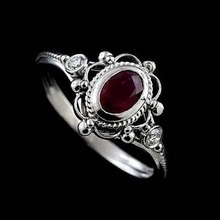 Women's Ruby 925 Thai Silver Black Ring Engagement Wedding Gift Jewelry