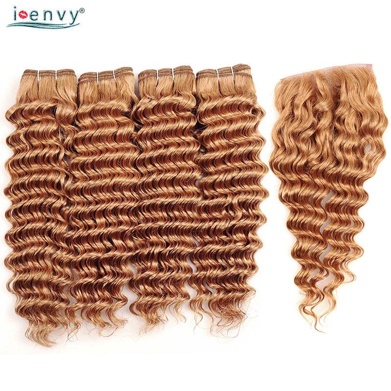 I Envy #27 Peruvian Hair Bundles With Closure Deep Wave Human Hair Honey Blonde Bundles With Closure Golden Hair Weave Non Remy