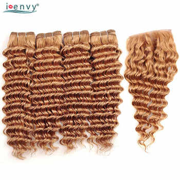 I Envy #27 Peruvian Hair Bundles With Closure Deep Wave Human Hair Honey Blonde Bundles With Closure Golden Hair Weave Non Remy - DISCOUNT ITEM  52% OFF All Category