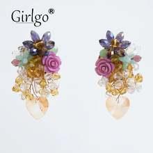 Girlgo za элегантные акриловые серьги с кристаллами для женщин