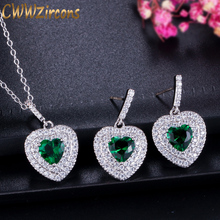 Jewelry-Sets Necklace Green Earring Crystal Cwwzircons Ladies Love And Classic Austrian