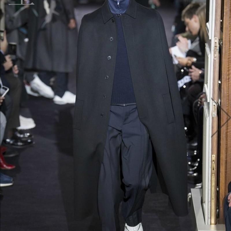 M-4XL Super Long Autumn And Winter Show Men's Cloak Coat Over The Knee Long Cloak Shawl British Woolen Tide Jacket