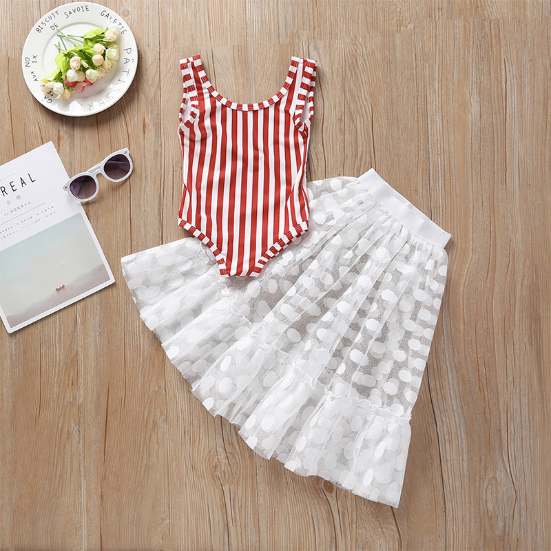 Summer Small Girls Red Striped Backless One-piece Swimsuit Skirt Set