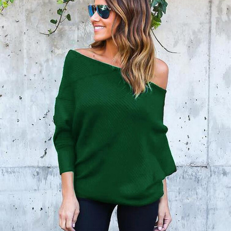 2019 New Sweater Women Sexy Off Batwing Sleeve Pullovers  3XL Harajuku Casual Loose Solid Long Sleeve Knitted Sweater Green