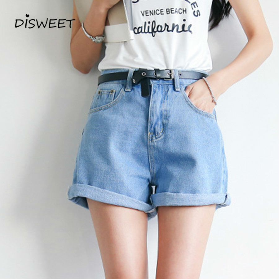 2019 Summer Solid Color Women's Denim Shorts Harajuku High Waist Jeans Casual Slim Denim Jeans Women <font><b>Belt</b></font> Ladies Shorts image