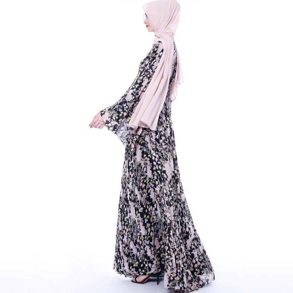 Floral Abaya Dress Women Hijab Dress Kaftan Dubai Abaya Turkey Muslim Vestidos Retro Prayer Islamic Clothing Robe Femme 4