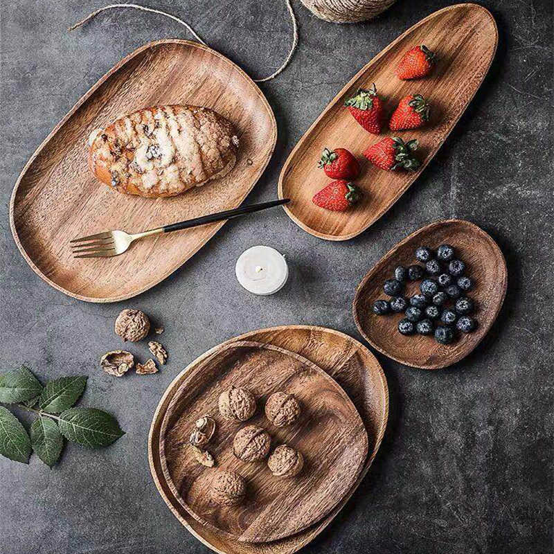 Whole Wood lovesickness Wood Irregular Oval Solid Wood Pan Plate Fruit Dishes Saucer Tea Tray Dessert Dinner Plate Tableware Set