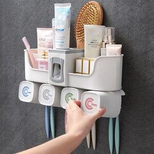 Настенный держатель чашки для зубной щетки, зубная паста для ванной комнаты, автоматический настенный чистящий инструмент без дырочек, сто...