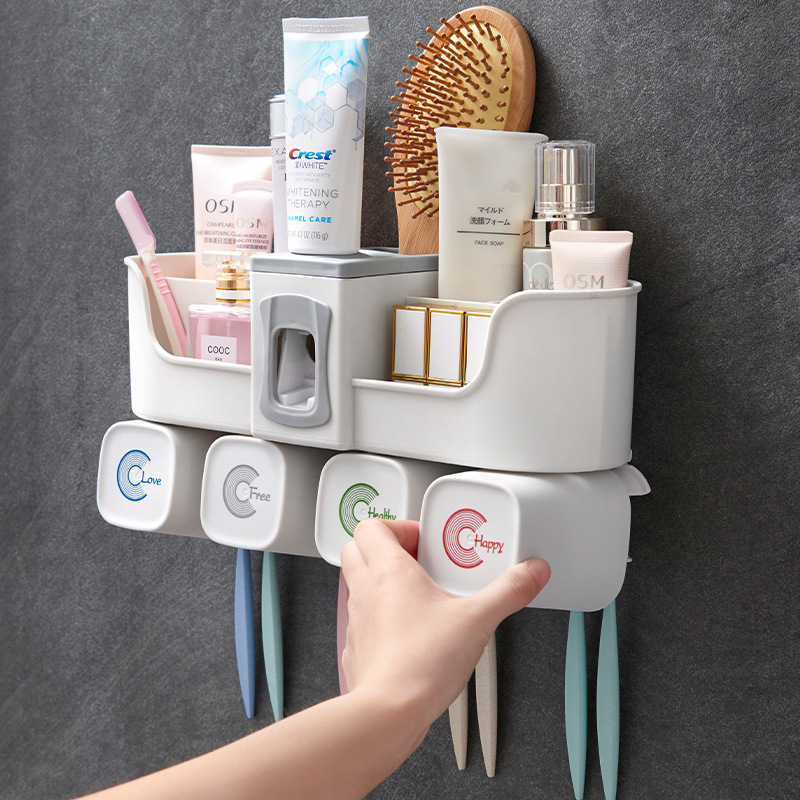 Wall-Mounted Toothbrush Cup Holder Bathroom Toothpaste Automatic Punch-Free Wall-Mounted Cleaning Supplies Cup Storage Rack