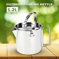 1.2L Outdoor Stainless Steel Kettle Portable Lightweight Cooking For Camping Hiking Teapot Coffee Pot Picnic Cooking Utensils|Sports Bottles|Sports & Entertainment -