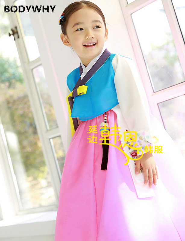 Girls' Stage Performance Korean Imported Fabric New Style Traditional Hanbok Dresses Fashion Outfits For Kids High Quality