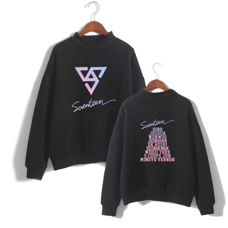 Harajuku kawaii moletom pulôver feminino gola alta topos kpop dezessete álbum fãs de concerto de apoio nome do membro impressão hoodies