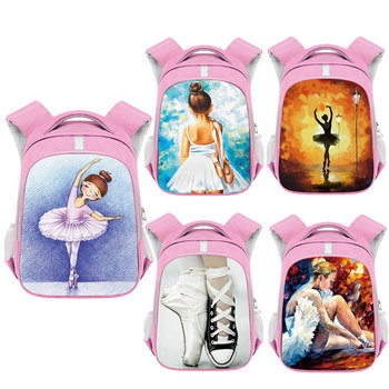 Cartoon Ballet Dancer Print Backpack Children School Bags Kids Kindergarten Bag Girls Backpacks Pink Bookbag Gift - discount item  35% OFF School Bags
