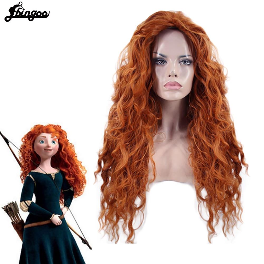 Ebingoo merida peruca laranja tinker sino princress belle ariel rapunzel peruca marrom vermelho loiro longo sintético cosplay peruca feminina
