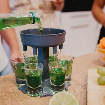 6 Shot Glass Dispenser Holder Party Pour Wine Splitter Whisky Beer Dispenser Rack Bar Tool Shot Buddys Gift for Bar Dropshipping