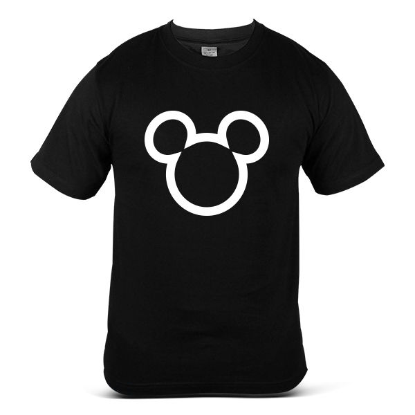 6214-BK Mickey Minnie Mouse Icon Head Bold Outline Simple Black Men Tee T-shirt Short Sleeve Tee Shirt Free Shipping cheap whole