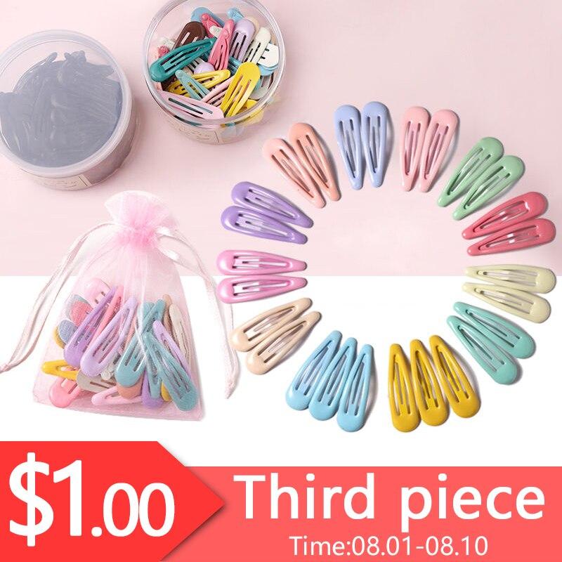 1Set=20PCS Yarn Bag Fashion Colorful Water Droplets Hair Clips Girls Cute Hairpins Barrettes Headbands Headwear Hair Accessories
