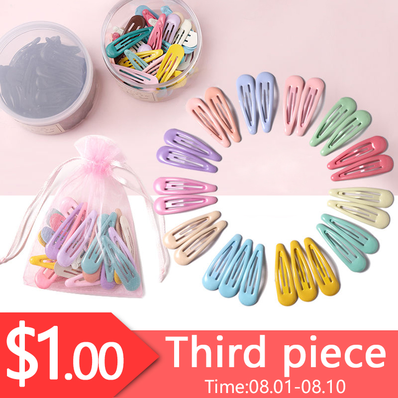 1Set=20PCS Yarn Bag Fashion Colorful Water Droplets Hair Clips Girls Cute Hairpins Barrettes Headbands   Headwear   Hair Accessories