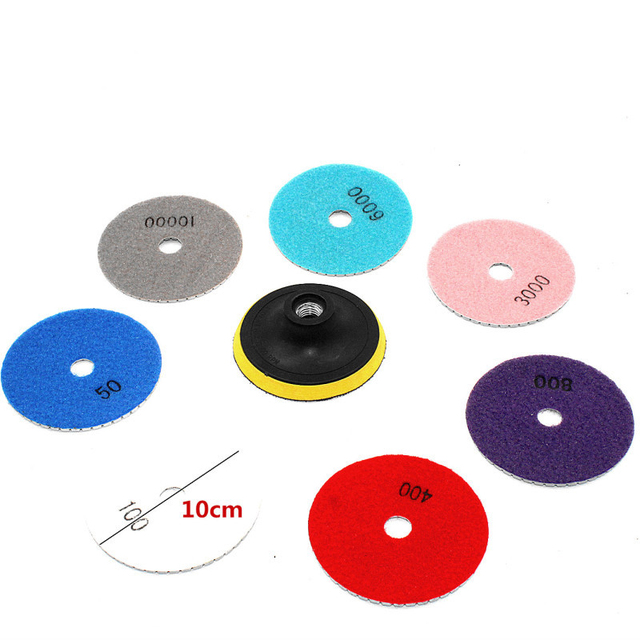 16pcs 4 inch 100mm Diamond Polishing Pads Kit Wet/Dry for Granite Stone Concrete Marble Polishing Use floor Grinding Discs Set
