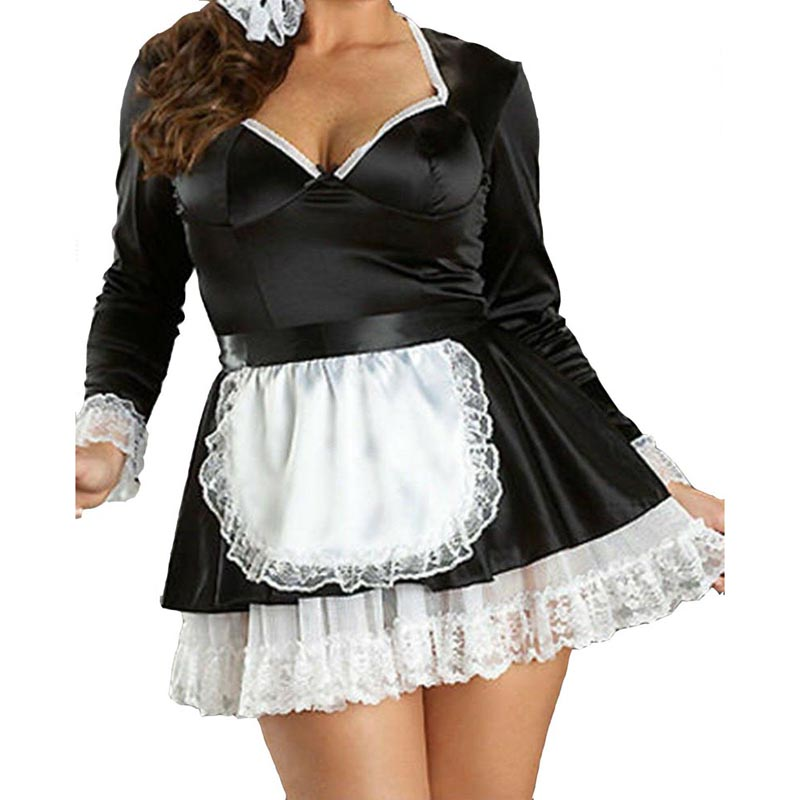 Lolita <font><b>Sexy</b></font> Women Satin French Maid Long Sleeve <font><b>Fancy</b></font> <font><b>Dress</b></font> Housemaid Aprons Fetish Role Play <font><b>Costume</b></font> Plus Size M to 4XL image