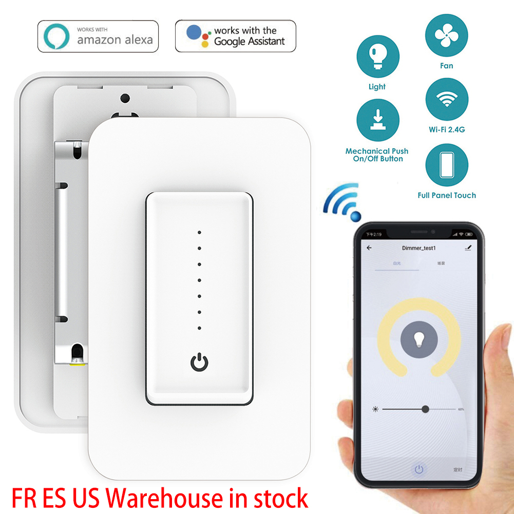 2019 New Arrive Smart Wifi LED Light Dimmer Switch US Standard 110-220V Wall Touch Control Fan Speed Work With Alexa Google Home