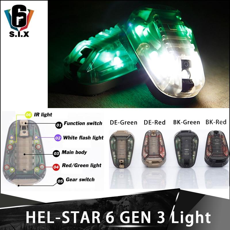 Hel Star 6 GEN 3 Helmet Light Strobe IR Light Green Red Flashlight Survival Lampe Airsoft Flash/Steady Function Waterproof|Helmets|   - title=