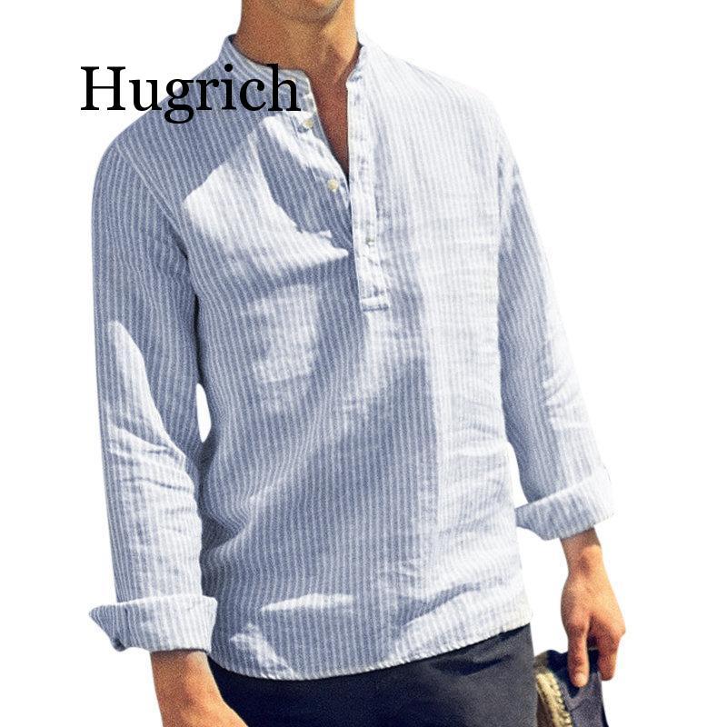 2020 Spring Summer Long Sleeve Shirt Men Solid Striped Casual Shirts Collar Cotton Linen Mens Shirt