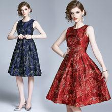 Женское жаккардовое платье без рукавов zuoman винтажное дизайнерское
