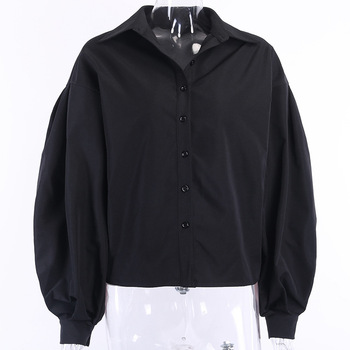 Ladies Lantern Sleeve Elegant Blouse Shirt Women White Black Casual Button Vintage Turn Down Collar Office Lady Shirt Female 5