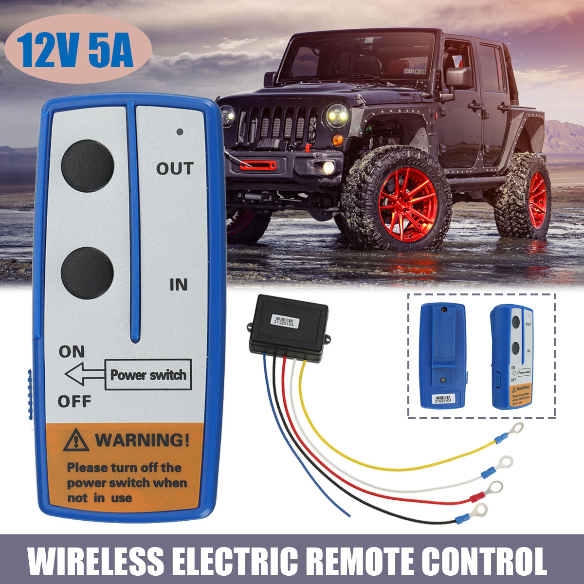 12V 50FT/ 15Meter Electric Winch Wireless Remote Control System Truck For Jeep ATV Winch Warn Ramsey With Receiver 1PIECE