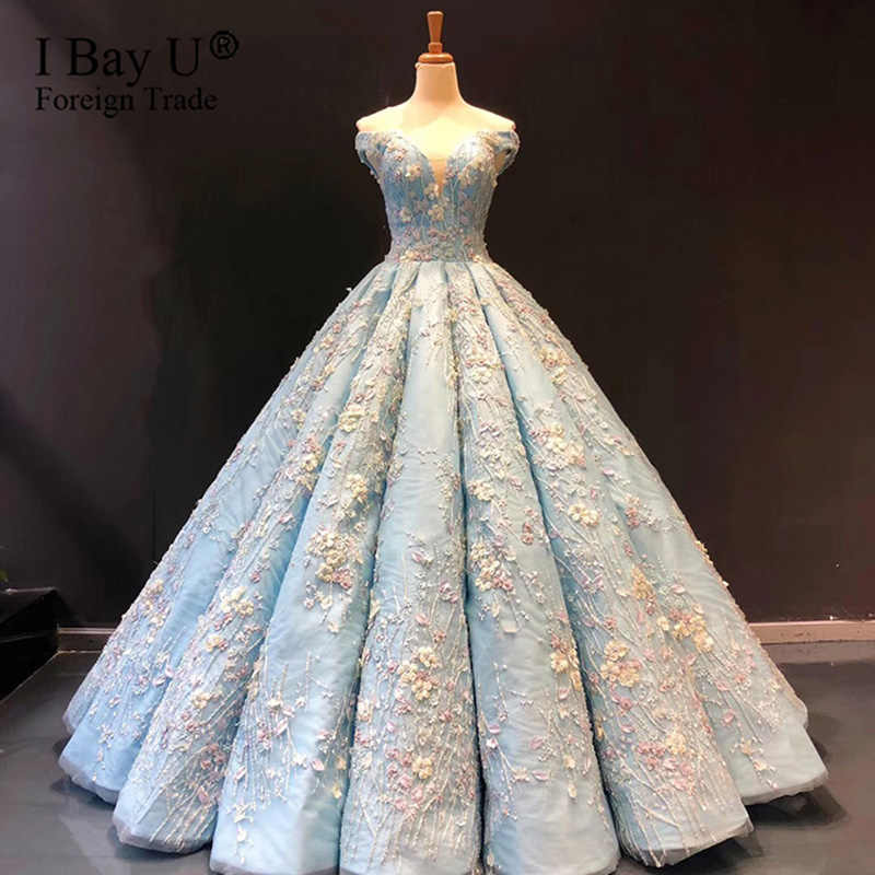 Vestidos De Novia 2020 Arabic Luxury Beaded Wedding Dress Long Sleeves Floral Applique Wedding Bridal Gowns Robe De Mariee