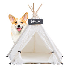 Pet Supplies White Canvas Dog Tent Breathable Cat Nest Comfortable Cat Bed Soft Dog Sofa Warm Puppies Cushion Washable Pet House