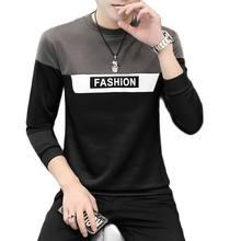 Camiseta larga de manga larga para hombre párr Otoño ubicación camiseta a rayas nueva camiseta de camisetas informales de cuello redondo