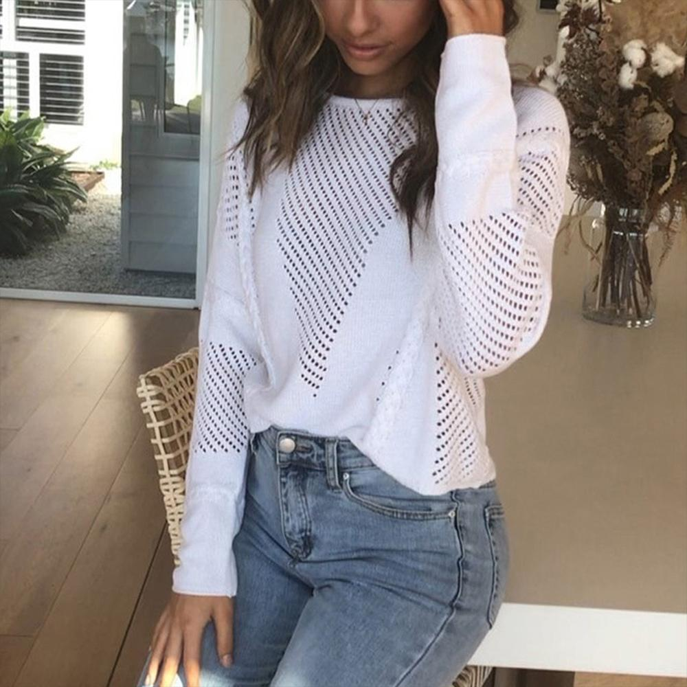 Europe Women Sexy Sheer Sweater Winter Knitted Clothing Hollow Out Winter Basic Long Sleeve Women Jumper Top