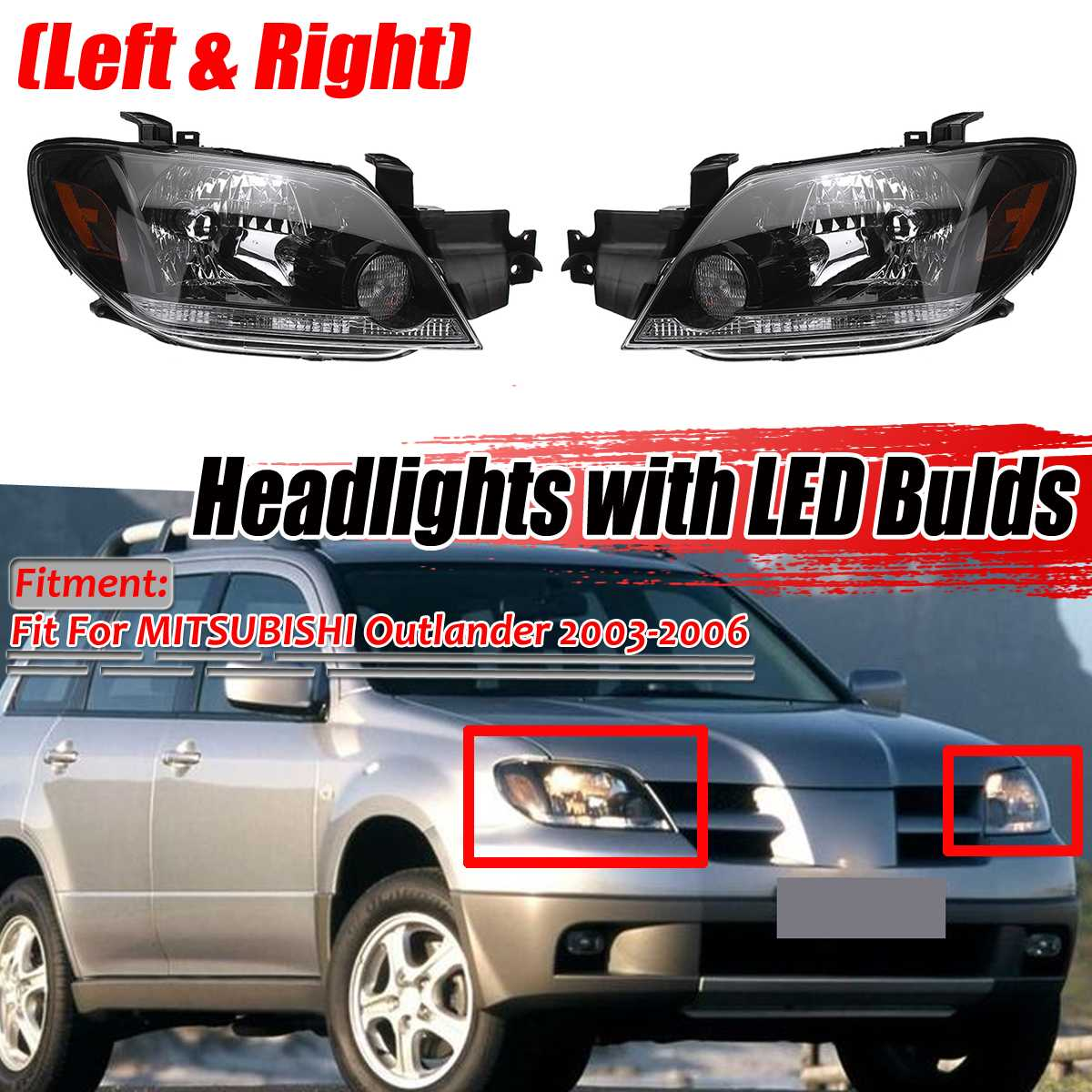 Left+Right Car Front Headlight Head Lamps Lights Assembly With Bulb For MITSUBISHI For Outlander 2003 2004 2005 2006