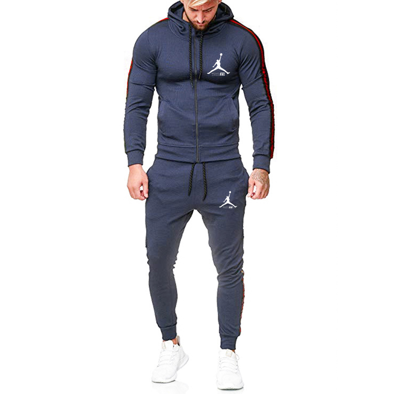New Fashion Sports Set Stripe Tracksuit Men Set Long Sleeve Hoodie Jogging Homme Sweatshirt Sweatpants Fitness Running Pants