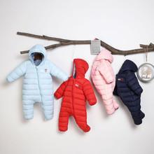 2019 nowy jesień zima ciepłe ubrania dla dzieci kurtki dla niemowląt kombinezon dla niemowląt dziewczyny chłopcy body dla dzieci z kapturem odzież wierzchnia płaszcz dzieci tanie tanio Moda Długi COTTON Cotton Blend 350g Pasuje prawda na wymiar weź swój normalny rozmiar List Unisex REGULAR O-neck CNJ1009016