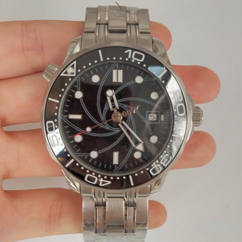 Automatyczny zegarek mechaniczny 007 czarna tarcza mężczyźni ceramiczne Bezel, data, świetliste dłonie stałe ze stali nierdzewnej bransoletka 41mm zegarek W-03