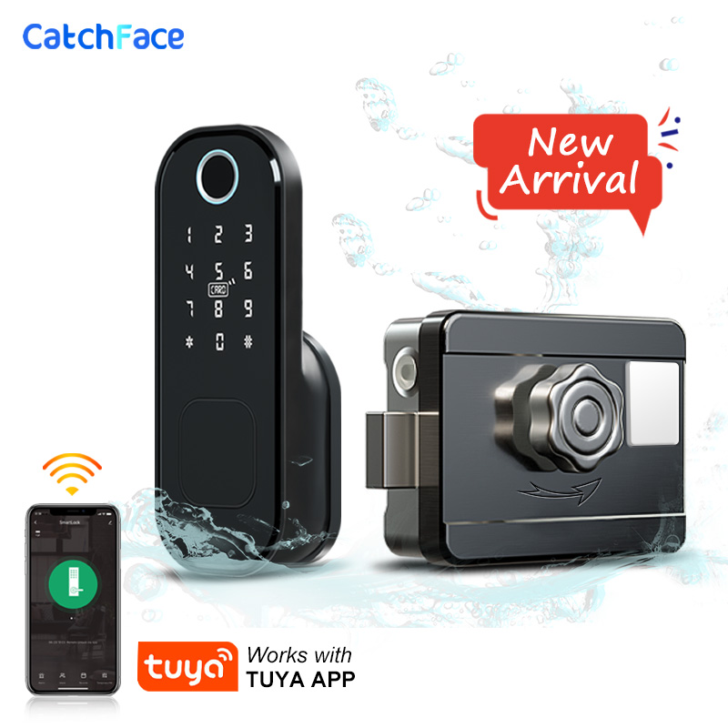 Electronic Door Lock Waterproof Outdoor Gate Lock Tuya app Wifi Passcode Rfid Card Keyless Front Fingerprint Lock