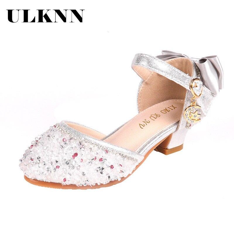 ULKNN Children Bowtie Princess Sandals Rhinestone Sequins Girls Kids Leather Soft Bottom Beach Shoes 3 4 5 6 7 8 9 10 11 Years