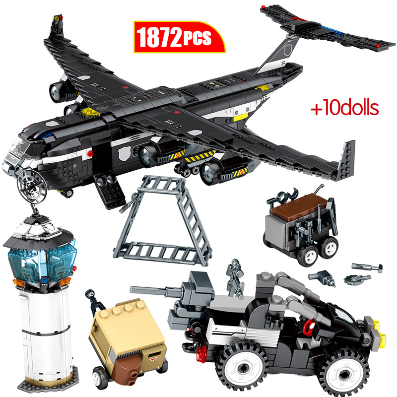 1872PCS SWAT Team Transport Aircraft Building Blocks City Police Military Airplane Figures Bricks Toys For Children image