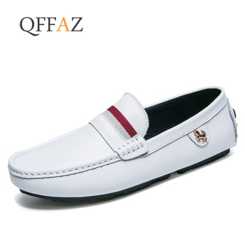 QFFAZ Leather Men Casual Shoes Breathable Loafers Man Genuine Leather Moccasins Comfortable Flat Shoes Men Footwear camel comfortable casual shoes matte genuine leather men shoes anti man wear resistant tooling footwear fashion mocassins homens