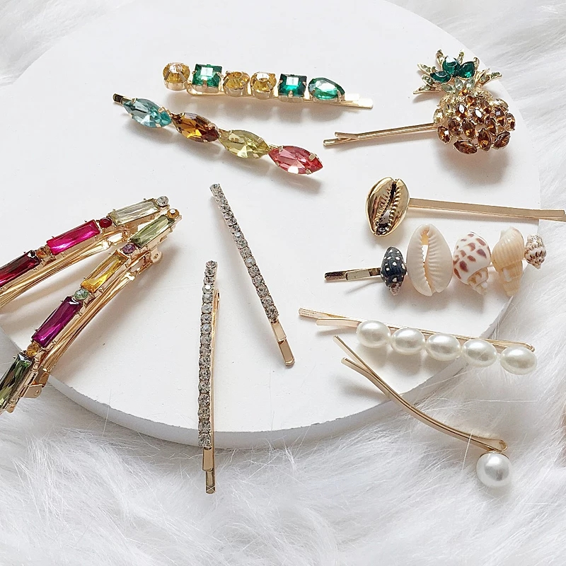 Fashion Crystal Glass Hair Pins Women 2019 Shiny Sets Colorful Korean Statement New Gift Charm Jewelry Luxury Wholesale Wedding in Hair Jewelry from Jewelry Accessories