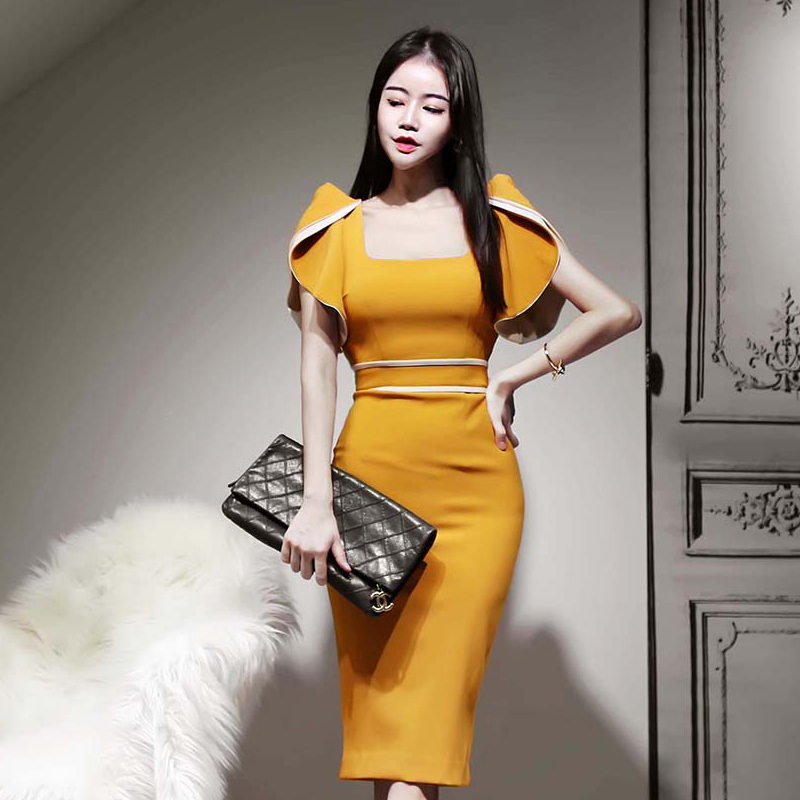 2020 Korean version of the new slim sexy ruffle stitching square collar package hip dress Zippers  Knee-Length