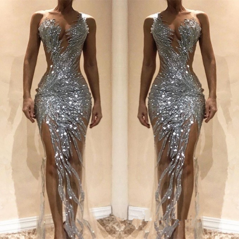 Vestidos De Gala Luxury Sequins Silver Prom Dresses Long Sexy High Slit Prom Party Gowns Charming Evening Party Dresses