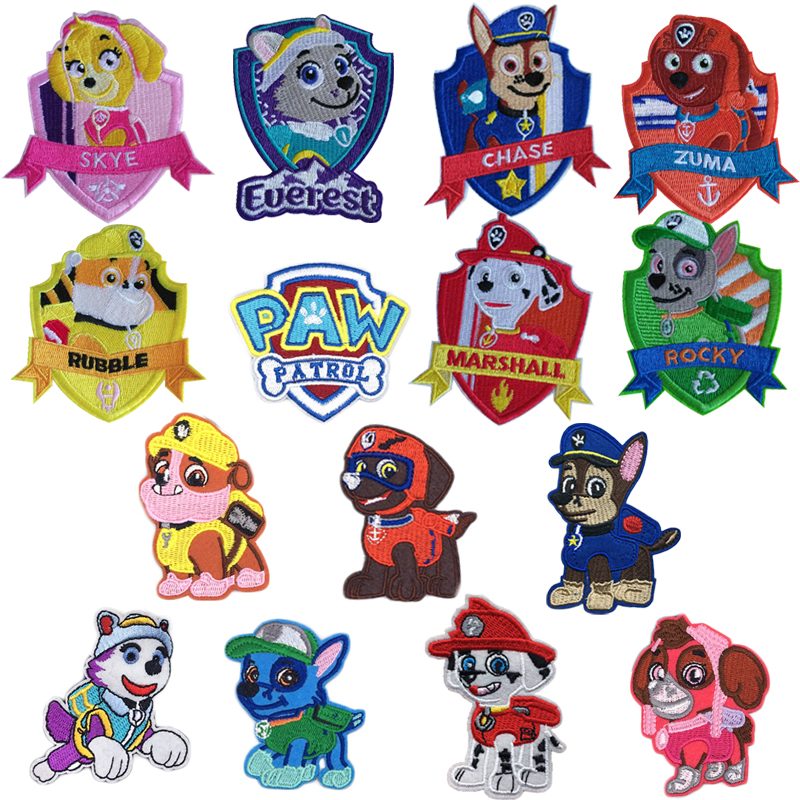 Cartoon Paw Patrol Iron On Patch Embroidered Clothes Patches For Clothing Kids Umbreon Cloth Stickers Garment Appliques