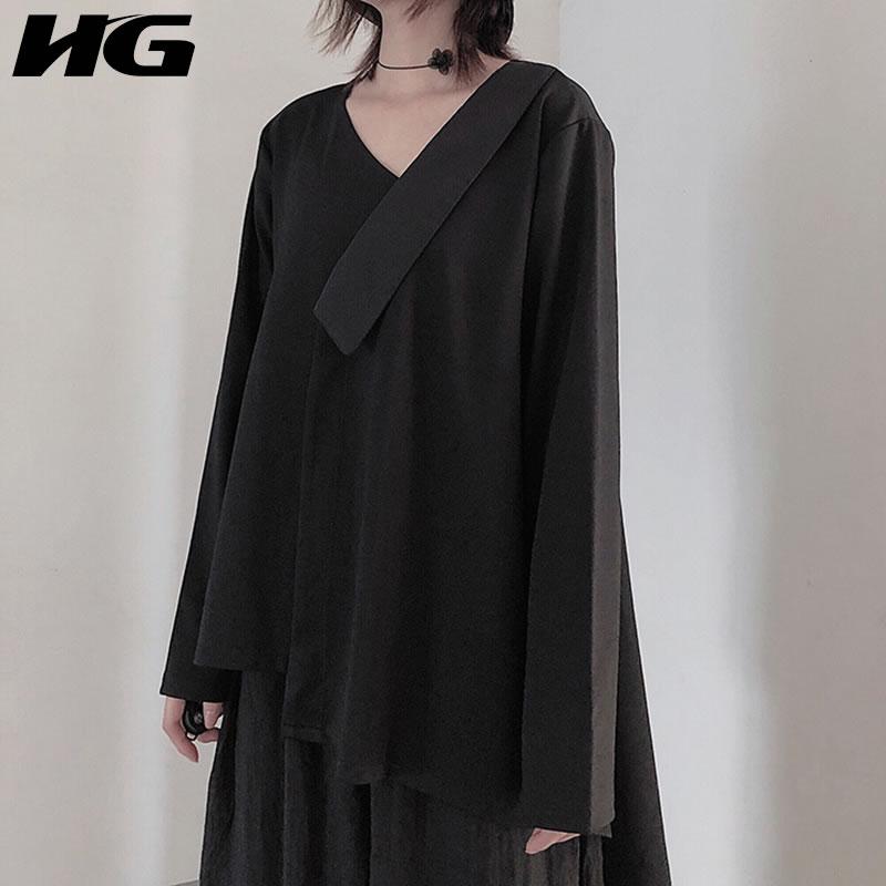 HG V cou épissage décolleté à manches longues T Shirt femmes irrégulière ourlet Harajuku Style Tee Simple noir Top femmes automne nouveau XJ2146