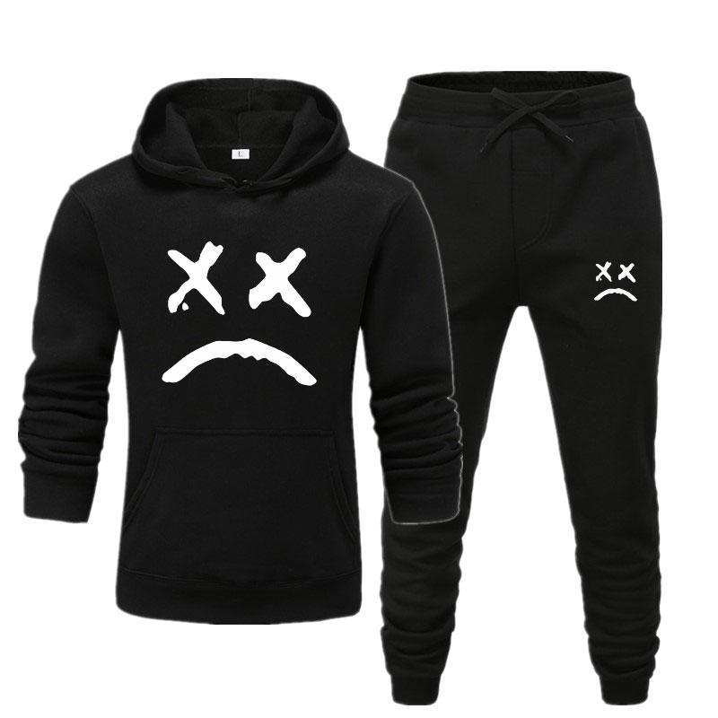 Lil Peep Funny Hoodies 2019 Lil Peep Printed Sweatshirts+Jogger Pants For Men Casual Fleece Streetwear Hoodies Cry Baby Lil Peep