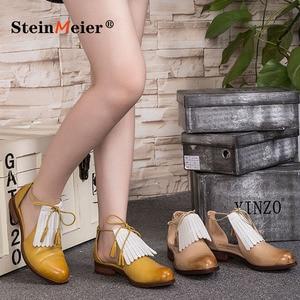 Image 1 - Sandálias femininas plana couro genuíno brogues yinzo senhoras apartamentos sandálias amarelas sapatos mulher vintage oxford sapatos para mulher 2020